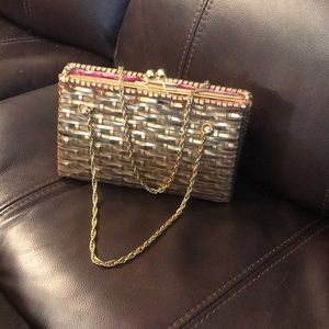 Gold wicker Lilly Pulitzer clutch purse